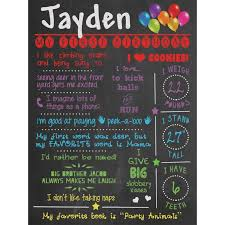 1st birthday chalkboard all about me 1st birthday chalkboard poster lucky skunks baby