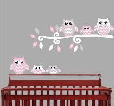 Nursery Owl Wall Decals Pink Owl Wall Decals Owl Stickers Owl Nursery Wall Decor Owl