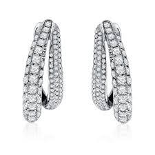 hoop diamond earrings pave hoop diamond earrings 2 12ctw platinum jewelers