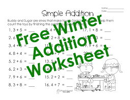 adding single digits u2013 winter worksheet squarehead teachers