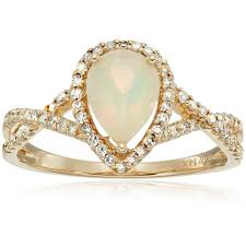 opal and diamond engagement rings 14k yellow gold opal diamond engagement ring sz 7