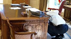 Resolute Desk President Obama Checking Out The Trap Door Below The Resolute Desk