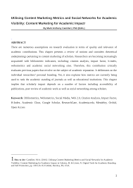 how to write research paper abstract utilising content marketing metrics and social networks for utilising content marketing metrics and social networks for academic visibility