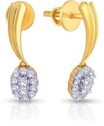 malabar earrings malabar gold and diamonds e71692 yellow gold 18kt diamond drop