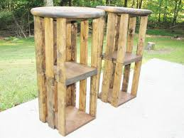 furniture rustic wooden bar stools for outdoor kitchen and patio