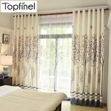 Pattern Drapes Curtains Tree Pattern Faux Linen Window Curtains For Living Room Bedroom