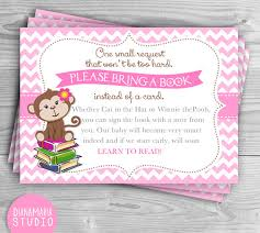 bring a book instead of a card baby shower book instead of card for baby shower girl monkey bring a book card