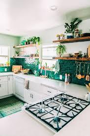 emerald green backsplash in white kitchen livinator