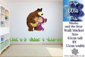 masha and the bear wall sticker childrens bedroom wall decal ebay masha and the bear wall sticker