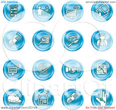 clipart illustration of a collection of blue icons of apartments