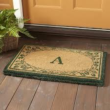 Welcome Doormats Leaf Border Monogrammed Welcome Doormat U0026 Reviews Birch Lane