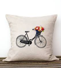 bicycle pillow cover with hand sewn flowers home decor