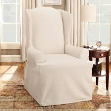 sure fit slipcovers wing chair shop sure fit slipcovers cotton duck wing chair slipcover at atg