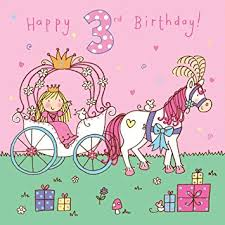 twizler 3rd birthday card for princess horse carriage and