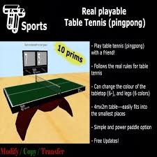 Rules For Table Tennis by Second Life Marketplace Tt Sports Playable Table Tennis Ping