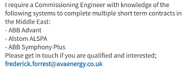 commissioning engineer and gas engineering commissioning engineer