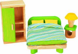 Schlafzimmerm El Set Voila Puppenhaus Aus Holz Mit Möbeln Amazon De Spielzeug