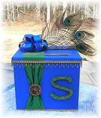 indian hindu wedding card box wishing well peacock feathers