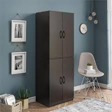 narrow depth kitchen storage cabinet mainstays 4 door storage cabinet chocolate walmart