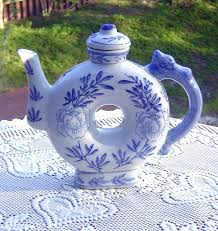 shaped teapot blue and white donut shaped teapot teapot antique