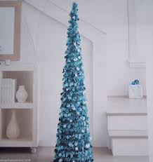 5 ft collapsible tinsel artificial tree turquoise