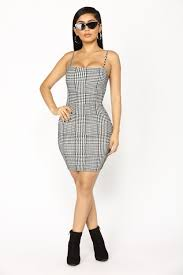 to pay houndstooth dress black white