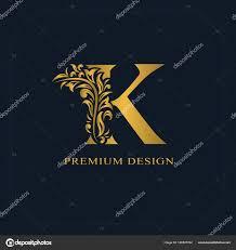 name style design gold elegant letter k graceful style calligraphic beautiful logo