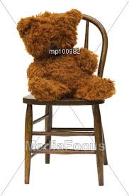 Bear On The Chair Stock Photo Old Teddy Bear Sitting Antique Bentwood Image