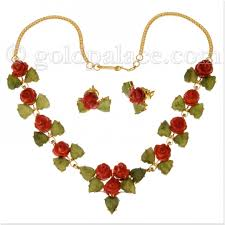 jade gold necklace images Gold necklace and earring set with coral and jade 22k gold jpg