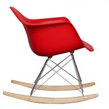 ray eames style rar rocking chair red