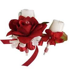 Corsage And Boutonniere Set Colorful Artificial Flower Wedding Bouquet Corsage Matching Set