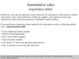 Sample Car Sales Resume by Automotive Sales Experience Letter 1 638 Jpg Cb U003d1409219593