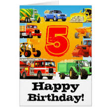 truck 5th birthday cards greeting u0026 photo cards zazzle