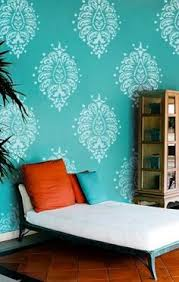 chocolate brown and blue stenciling fancy and room