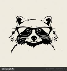 funny cute vector illustration of a raccoon wearing glasses for t