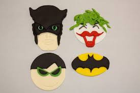 batman robin and joker fondant cupcake and cookie