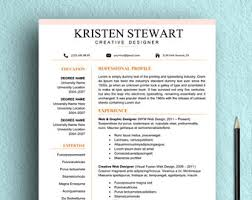 Resume Template Graphic Designer Clean Resume Etsy