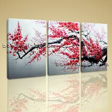 abstract floral painting plum blossom tree on canvas art print framed large abstract floral painting plum blossom tree on canvas art print framed