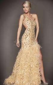 lace one shoulder trumpet mermaid split front with shining