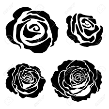 set of different graphic rose silhouettes suitable for tattoo