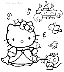 kitty color cartoon characters coloring pages color