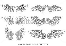 set eagle angel wings heraldry tattoo stock vector 155712719