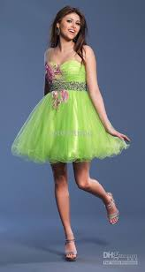 attractive charming bright green exquisite applique cocktail dress