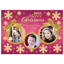 photo card pink gold snowflakes gold ornaments