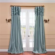 Teal Taffeta Curtains Ruched Robins Egg 120 X 50 Inch Faux Silk Taffeta Curtain Single