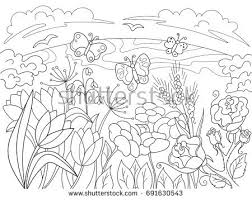 butterfly flower animal coloring book stock vector 516701185