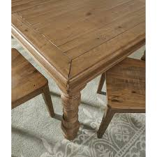 solid pine rectangular dining room extension table with turned