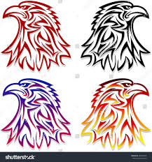 tribal tattoo eagle head symbol looking stock vector 448459636