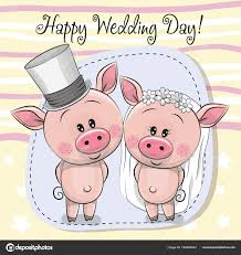 groom to card greeting card piggy and piggy groom stock vector