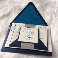customized wedding invitations digital printed wedding invitations navy blue shiny card with blue